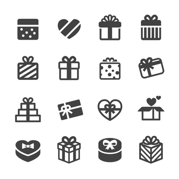 holiday gift boxes icons - acme series - prezent na urodziny stock illustrations