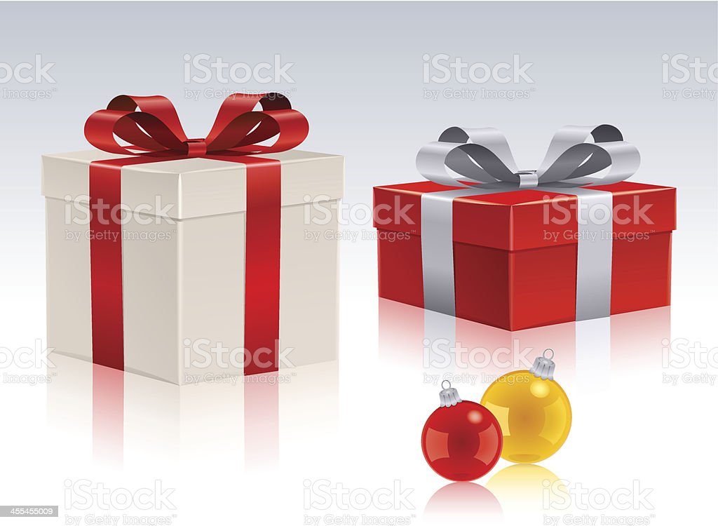 Holiday Gift Boxes with Christmas Bauble royalty-free holiday gift boxes with christmas bauble stock vector art & more images of celebration