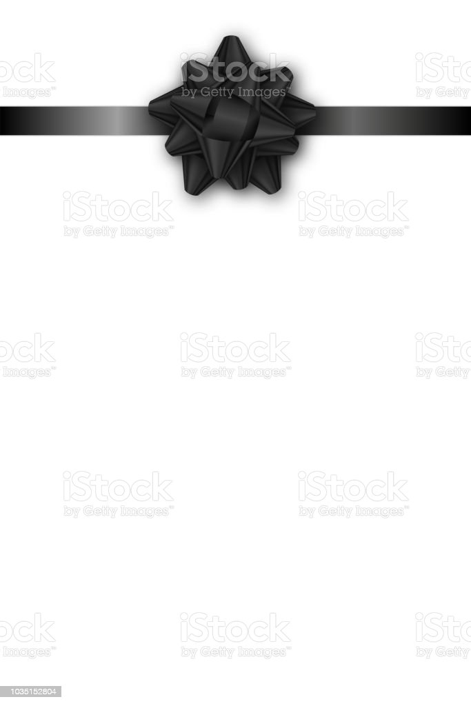 Holiday Gift Card With Black Ribbon And Bow On White Background