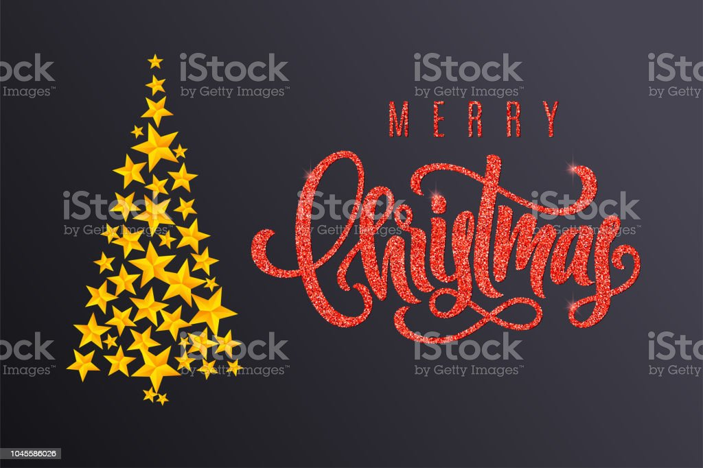 Holiday Gift Card With Golden Christmas Tree And Hand Lettering On