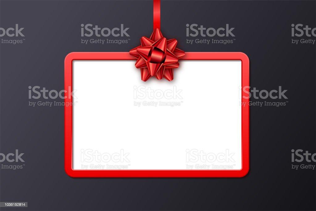 Carte Cadeau De Vacances Avec Cadre Rouge Ruban Et Archet Sur Fond Noir