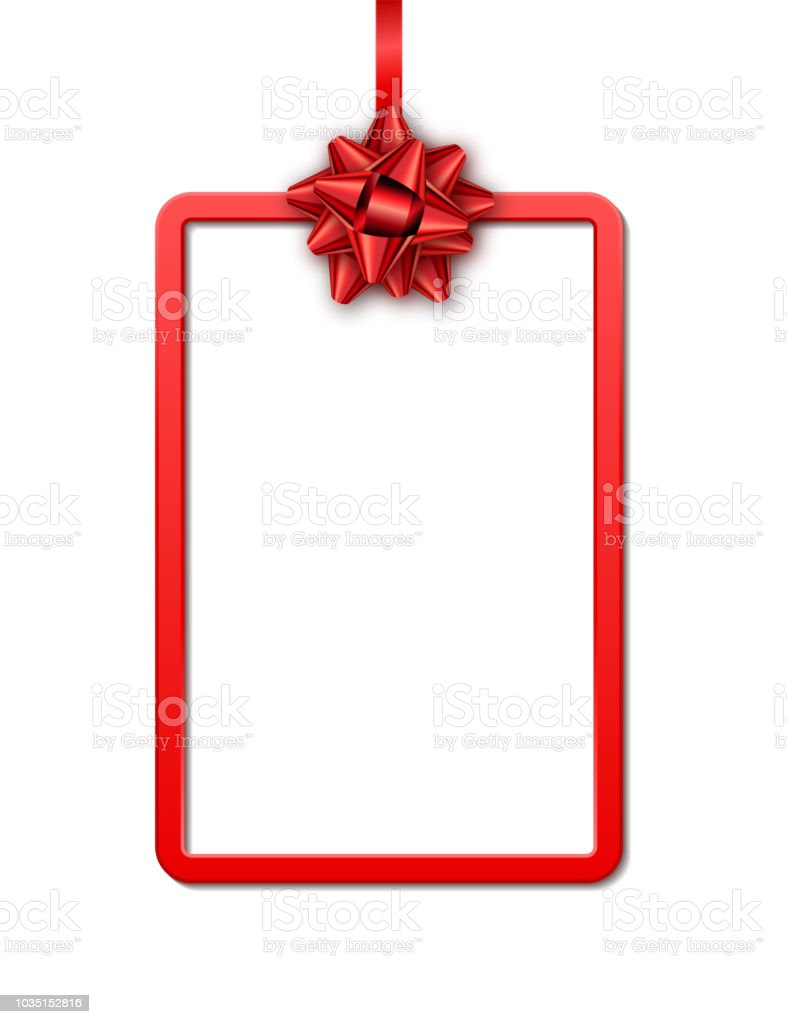 Holiday Gift Card With Red Frame Ribbon And Bow On White Background