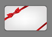 Holiday gift cards with red bow, ribbon