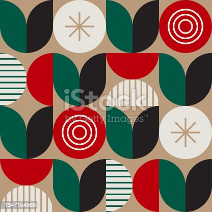 istock Holiday gift wrap seamless repeat pattern — abstract geometric mid-century modern design 1347154568