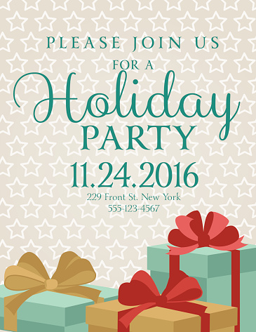 Holiday Gifts Background Dinner Invitation Template Stock
