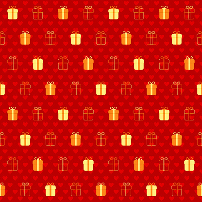 holiday gifts on red repetitive background with hearts. vector seamless pattern. fabric swatch. wrapping paper. continuous print. design element for textile, home decor, apparel, phone case