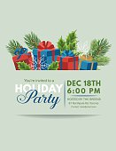 Holiday Gifts Party Invitation template with overlay for text.  Simple  presents with ribbons and evergreens.