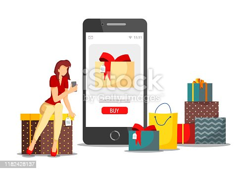istock Holiday gifts, Shopping application, Mobile apps, Store, E-shop and E-commerce concept. Woman with phone choosing gifts. 1182428137