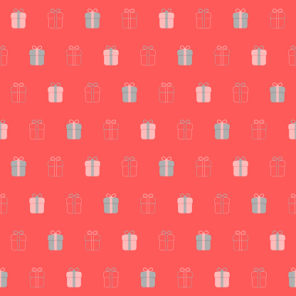 holiday gifts. vector seamless pattern. pink and gray repetitive background. fabric swatch. wrapping paper. continuous print. design template for textile, home decor, apparel, phone case, cloth