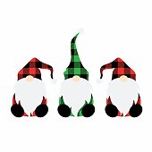 Cute, red and green plaid dressed gnomes illustration on a white background.