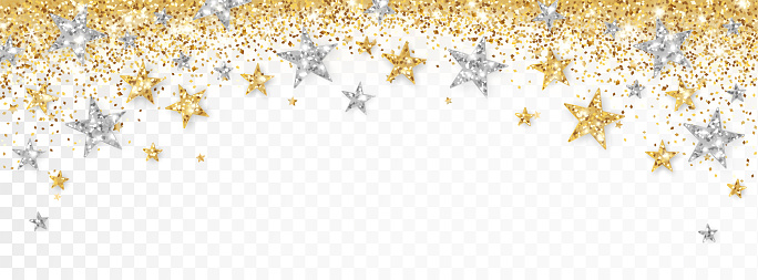 Holiday gold and silver decoration, glitter frame isolated on white. Festive border with falling glitter dust and stars.