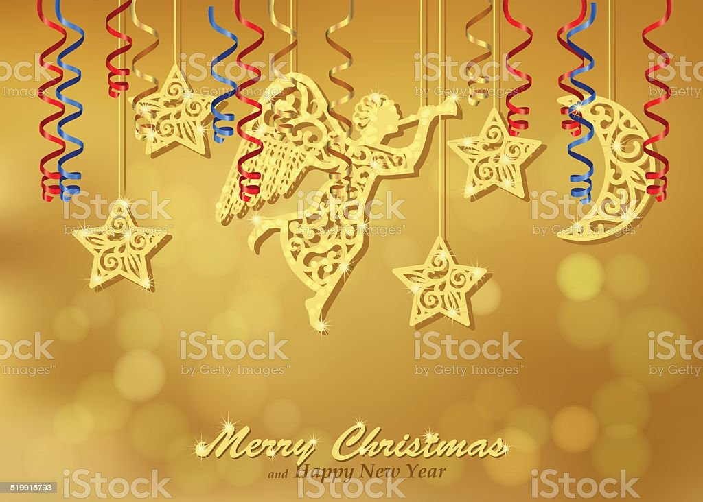 Holiday gold background with figures of angel, stars, moon