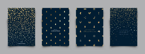 Holiday Greeting Card Collection. Vector Illustration. Elegant gold  pattern; Glitter Christmas elements and icons including pine trees, snowflakes, stars... Vector Illustration. christmas backgrounds stock illustrations