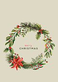 Watercolor Christmas card. Christmas elements and typography. Vector Illustration.