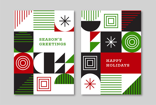 Holiday greeting card designs with retro midcentury geometric graphics