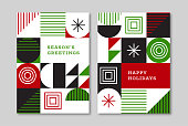 Retro greeting card designs for the holiday season. Vector artwork is easy to colorize, manipulate, and scales to any size.