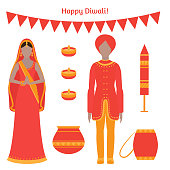 Hindu holiday greeting card with indian elements. Light festival of India Happy Diwali. Indian family people celebrating with candles and fireworks.