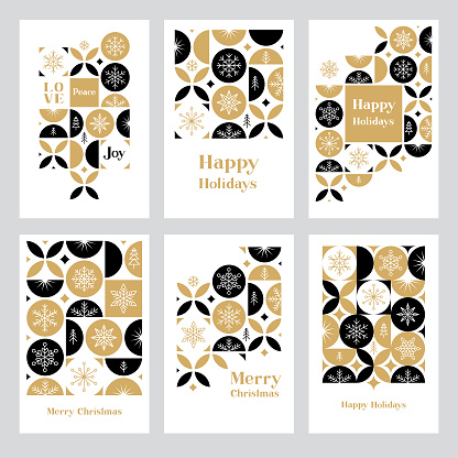 Holiday greeting card set with snowflakes