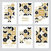 Modern Christmas card set. Snowflakes on geometric background. Easily editable. Flat vectors on layers.