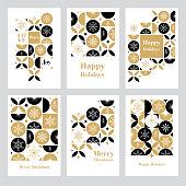 Modern Christmas card set. Snowflakes on geometric background.\nEasily editable. Flat vectors on layers.