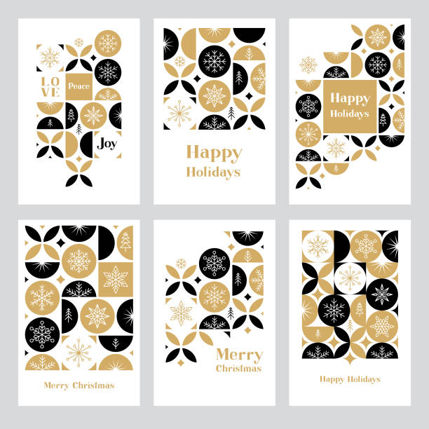 Holiday greeting card set with snowflakes Modern Christmas card set. Snowflakes on geometric background. Easily editable. Flat vectors on layers. christmas icons stock illustrations
