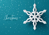 Winter Holiday Background with Paper Snowflakes