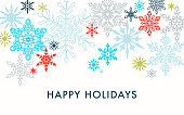 Modern snowflakes greeting card with greetings. Christmas, Holiday greeting card, background
