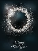 Holiday greeting card with bokeh effect and glowing garland