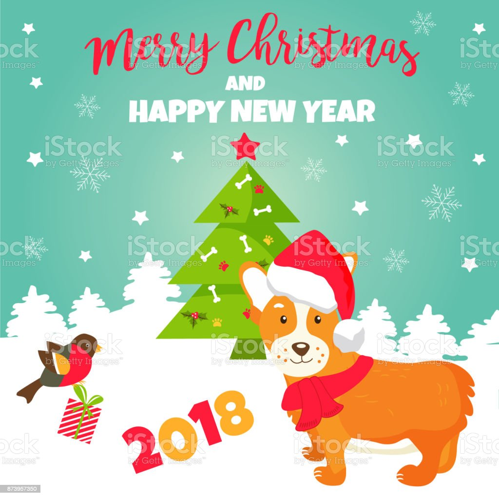 Holiday Greeting Card With Cute Corgi Dog Stock Vector Art More