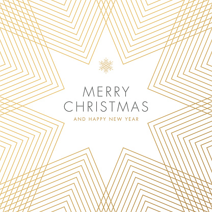 Holiday greeting card with geometric Snowflake.