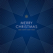 Holiday Greeting Card with Geometric Snowflake. Stock illustration