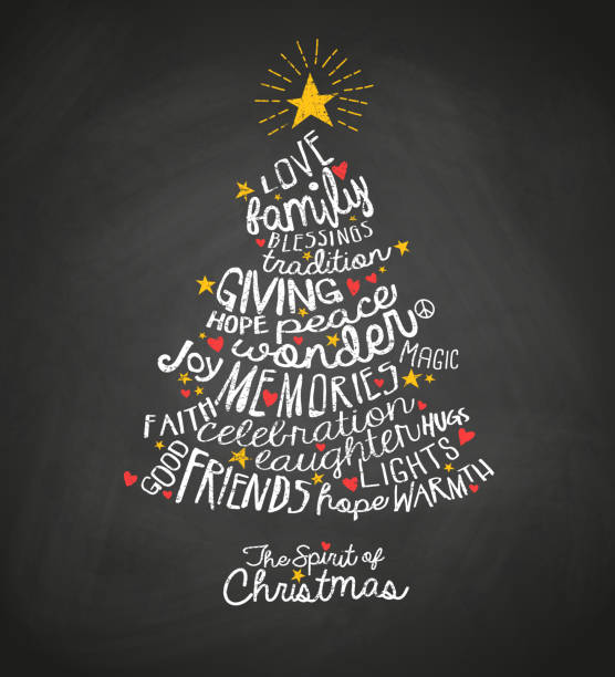 ilustrações de stock, clip art, desenhos animados e ícones de holiday greeting card with inspiring handwritten words in christmas tree shape. word cloud design. - christmas card