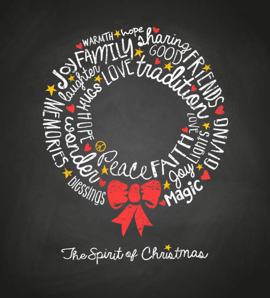 ilustrações de stock, clip art, desenhos animados e ícones de holiday greeting card with inspiring handwritten words in christmas tree shape. word cloud design. - alegria