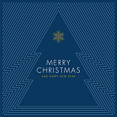 Holiday greeting card with stylized Christmas Tree. Stock illustration