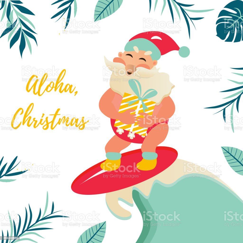 Holiday Greeting Card With Tropical Background And Aloha Santa Claus