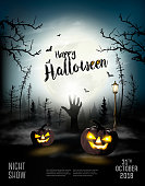 istock Holiday Halloween Spooky background with pumpkins and hand. Vector 1049360942