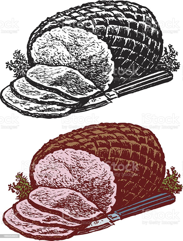 Holiday Ham with Knife - Sliced royalty-free holiday ham with knife sliced stock vector art & more images of food