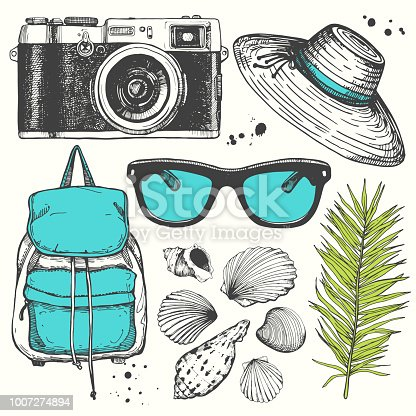 Holiday hand-drawn set with sunglasses, hat, palm leaf, camera, sea shells, backpack. Vector illustration in sketch style on white background. Brush calligraphy elements. Handwritten ink lettering.
