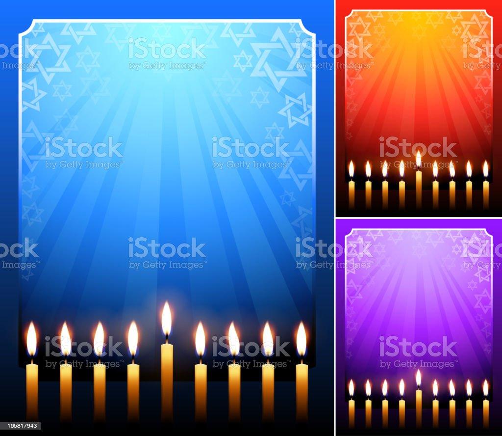 Holiday Hanukkah candles on dark frame Background royalty-free stock vector art