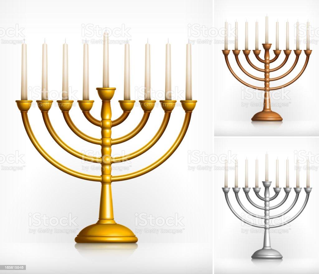 Holiday Hanukkah Menorah on White vector art illustration