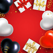 Holiday red, white, black balloons and Gifts Background. Vector illustration.
