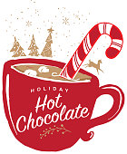 Holiday Hot Chocolate greeting design.  Mug, candy cane and marshmallows and hand drawn elements such as christmas trees and running deer.