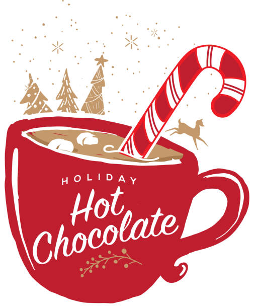 Holiday Hot Chocolate with mug greeting design Holiday Hot Chocolate greeting design.  Mug, candy cane and marshmallows and hand drawn elements such as christmas trees and running deer. hot chocolate stock illustrations