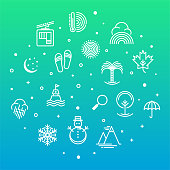 Holiday hotels and sightseeing spots outline style symbols on modern gradient background. Thin line vector icons for infographics, mobile and web designs.