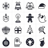 Christmas, Holiday and Hanukkah icons including snowflake, gift, christmas tree, stocking, peace dove, santa hat cand and menorah. EPS 10 file. Transparency effects used on highlight elements.