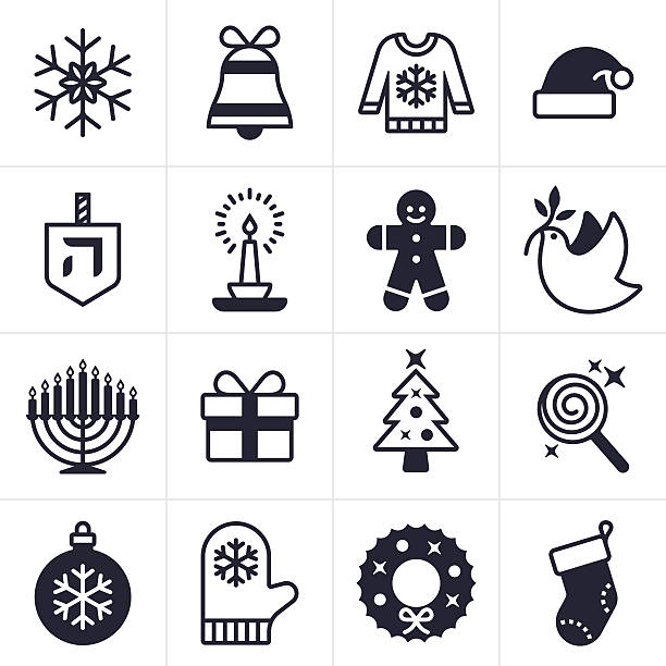 Holiday Icons and Symbols Christmas, Holiday and Hanukkah icons including snowflake, gift, christmas tree, stocking, peace dove, santa hat cand and menorah. EPS 10 file. Transparency effects used on highlight elements. mitten stock illustrations