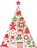 Holiday icons in christmas tree shape