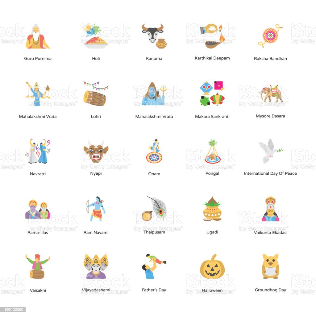 100 holiday icons pack royalty-free 100 holiday icons pack stock vector art & more images of dussehra