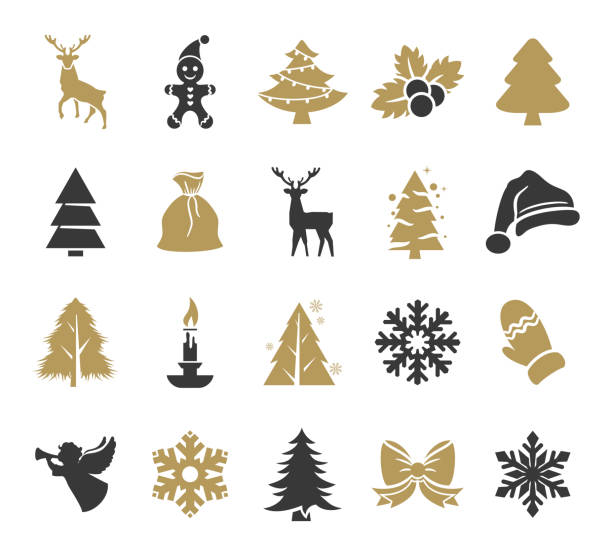 Holiday Icons Set Vector illustration of the holiday icons set christmas icons stock illustrations