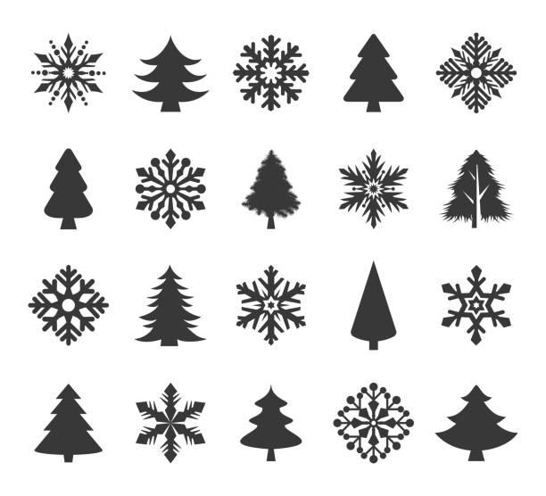 stockillustraties, clipart, cartoons en iconen met vakantie icons set - kerstboom